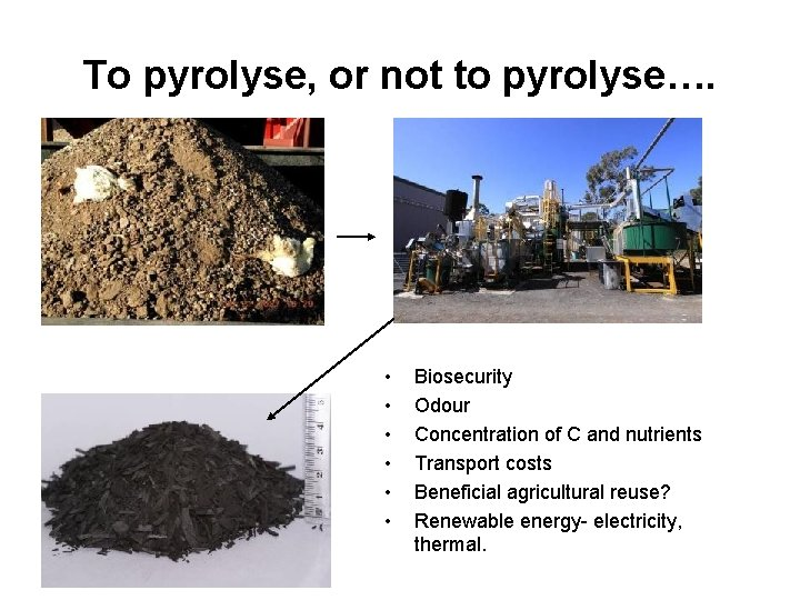 To pyrolyse, or not to pyrolyse…. • • • Biosecurity Odour Concentration of C