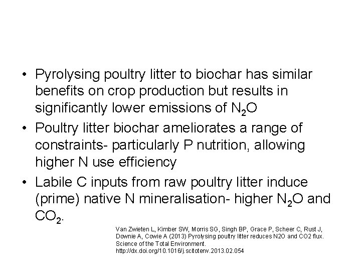 • Pyrolysing poultry litter to biochar has similar benefits on crop production but