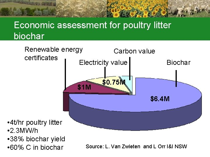 Economic assessment for poultry litter biochar Renewable energy Carbon value certificates Electricity value $1