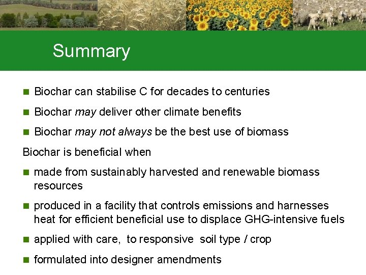Summary n Biochar can stabilise C for decades to centuries n Biochar may deliver