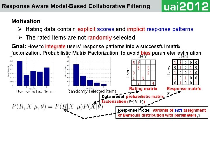 Response Aware Model-Based Collaborative Filtering Motivation Ø Rating data contain explicit scores and implicit