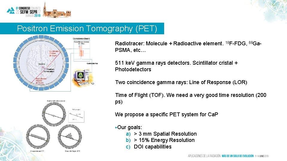 Positron Emission Tomography (PET) Radiotracer: Molecule + Radioactive element. 18 F-FDG, 68 Ga. PSMA,