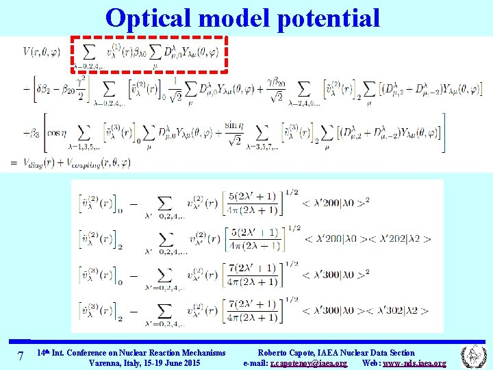 Optical model potential 7 14 th Int. Conference on Nuclear Reaction Mechanisms Varenna, Italy,