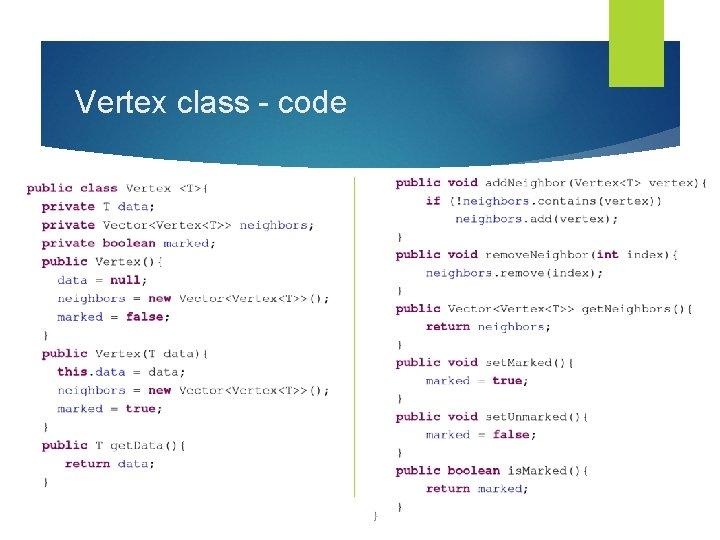 Vertex class - code