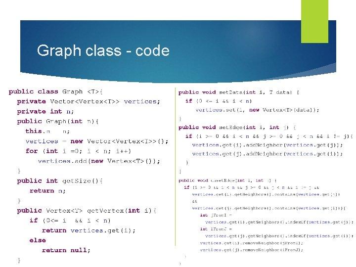 Graph class - code