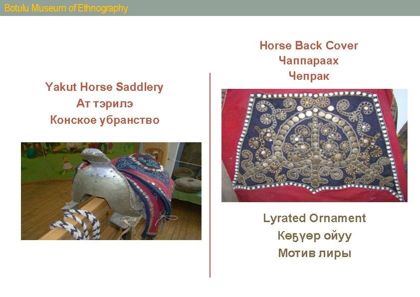 Botulu Museum of Ethnography Yakut Horse Saddlery Ат тэрилэ Конское убранство Horse Back Cover
