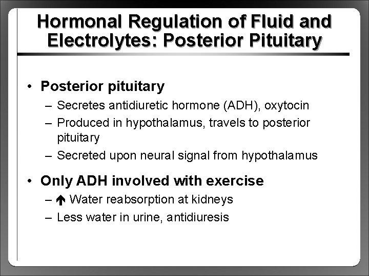 Hormonal Regulation of Fluid and Electrolytes: Posterior Pituitary • Posterior pituitary – Secretes antidiuretic
