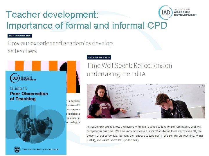 Teacher development: Importance of formal and informal CPD