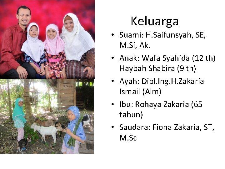 Keluarga • Suami: H. Saifunsyah, SE, M. Si, Ak. • Anak: Wafa Syahida (12