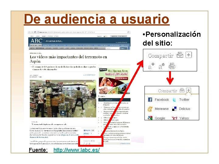 De audiencia a usuario • Personalización del sitio: Fuente: http: //www. labc. es/