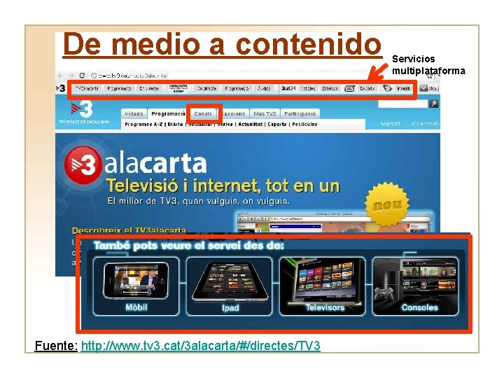 De medio a contenido Fuente: http: //www. tv 3. cat/3 alacarta/#/directes/TV 3 Servicios multiplataforma