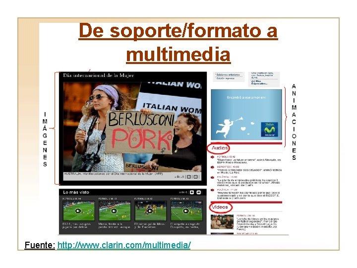 De soporte/formato a multimedia Fuente: http: //www. clarin. com/multimedia/
