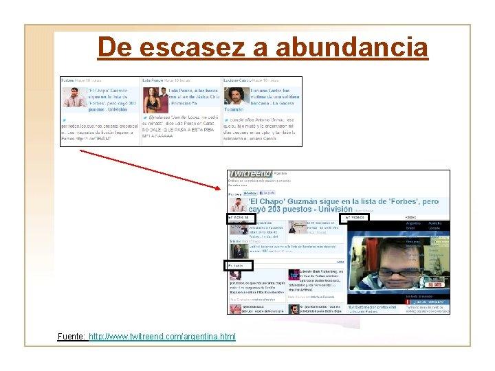 De escasez a abundancia Fuente: http: //www. twitreend. com/argentina. html