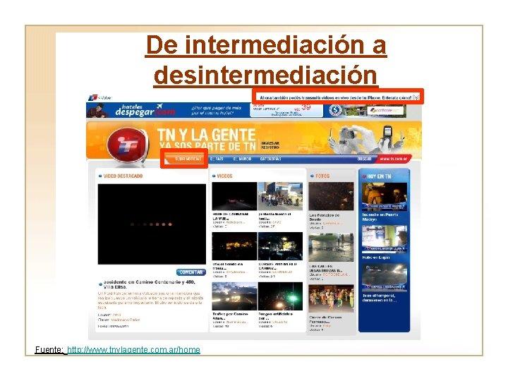 De intermediación a desintermediación Fuente: http: //www. tnylagente. com. ar/home