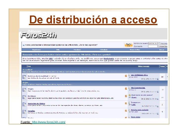 De distribución a acceso Fuente: http: //www. foros 24 h. com/