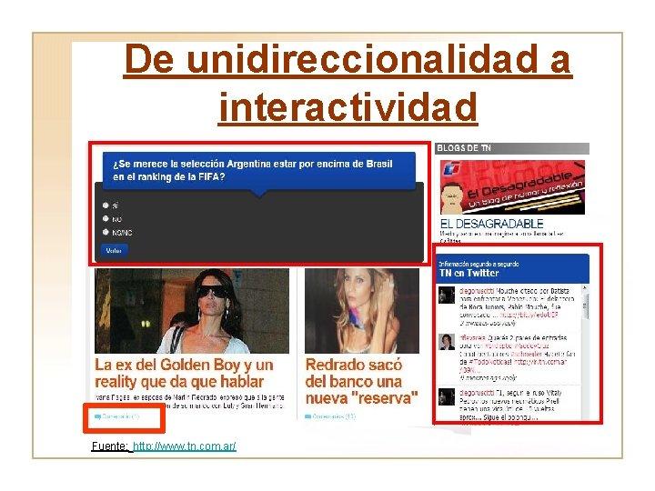 De unidireccionalidad a interactividad Fuente: http: //www. tn. com. ar/