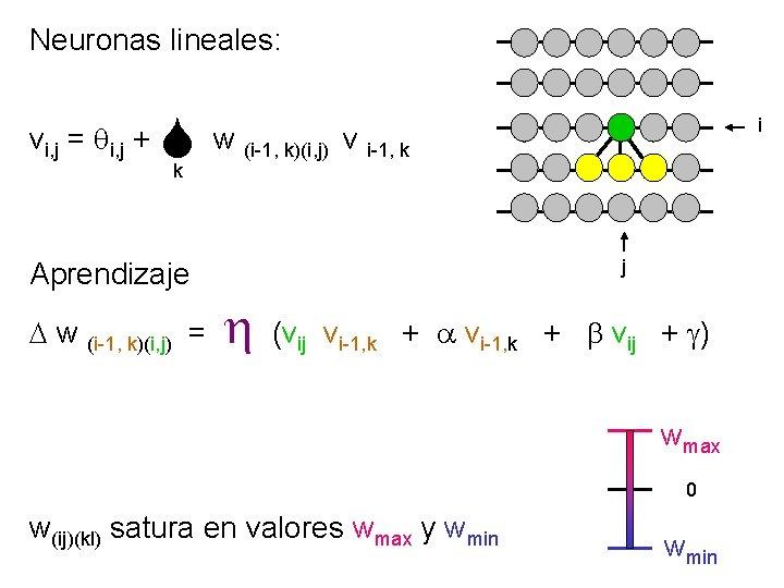 Neuronas lineales: vi, j = qi, j + w k Aprendizaje D w (i-1,