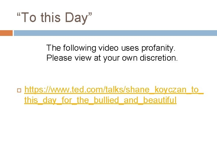 """""""To this Day"""" The following video uses profanity. Please view at your own discretion."""