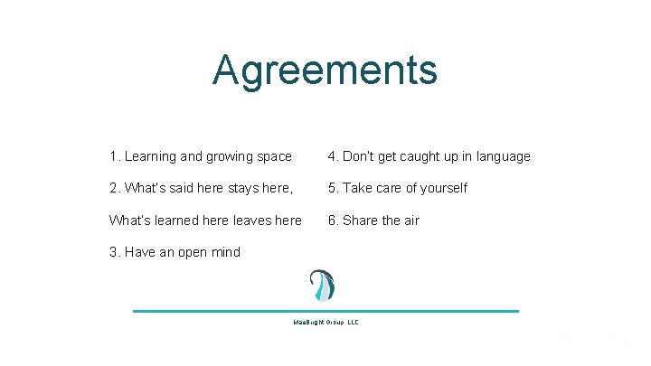 Agreements 1. Learning and growing space 4. Don't get caught up in language 2.