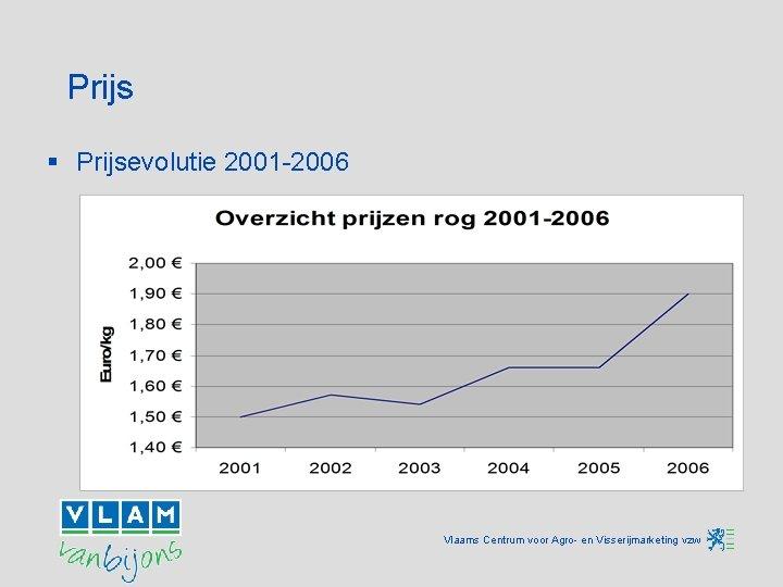 Prijs § Prijsevolutie 2001 -2006 Vlaams Centrum voor Agro- en Visserijmarketing vzw