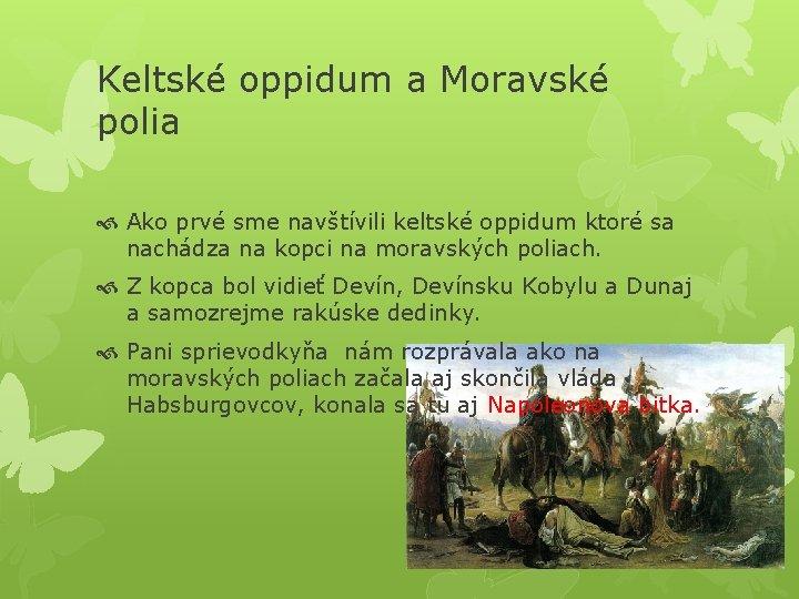 Keltské oppidum a Moravské polia Ako prvé sme navštívili keltské oppidum ktoré sa nachádza