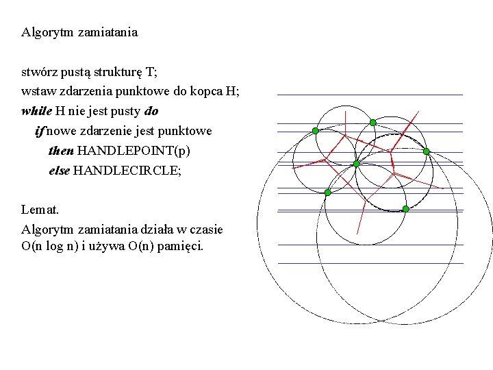 Algorytm zamiatania stwórz pustą strukturę T; wstaw zdarzenia punktowe do kopca H; while H