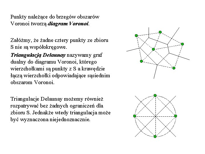 Punkty należące do brzegów obszarów Voronoi tworzą diagram Voronoi. Załóżmy, że żadne cztery punkty