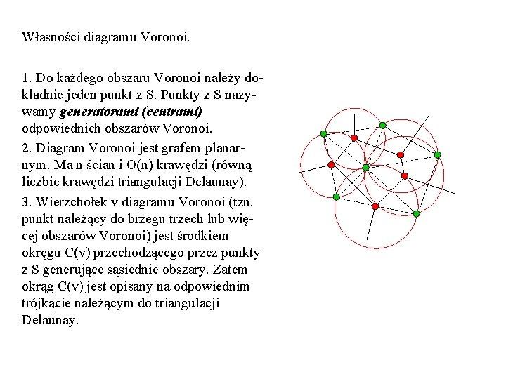 Własności diagramu Voronoi. 1. Do każdego obszaru Voronoi należy dokładnie jeden punkt z S.