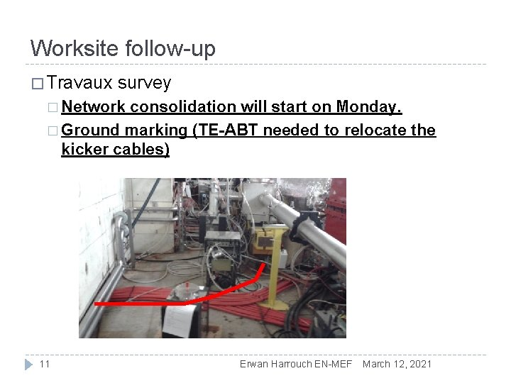 Worksite follow-up � Travaux survey � Network consolidation will start on Monday. � Ground
