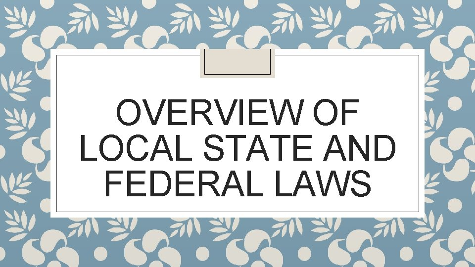 OVERVIEW OF LOCAL STATE AND FEDERAL LAWS