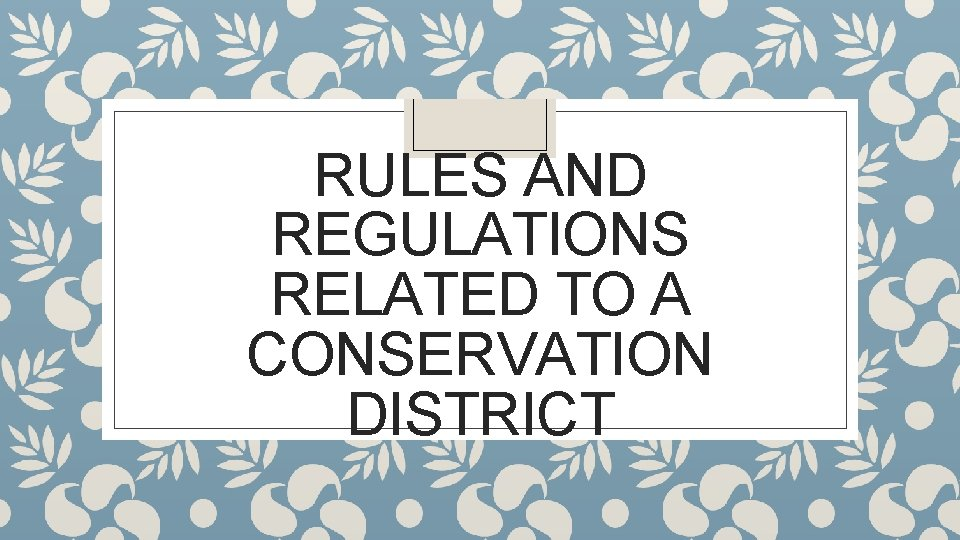 RULES AND REGULATIONS RELATED TO A CONSERVATION DISTRICT