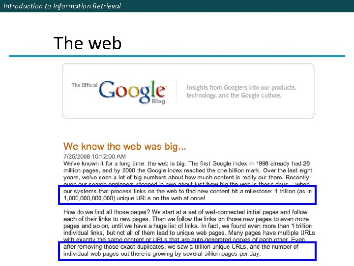 Introduction to Information Retrieval The web