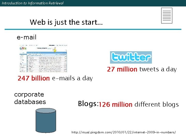 Introduction to Information Retrieval Web is just the start… e-mail 247 billion e-mails a