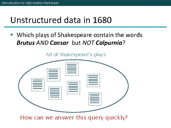 Introduction to Information Retrieval Unstructured data in 1680 § Which plays of Shakespeare contain