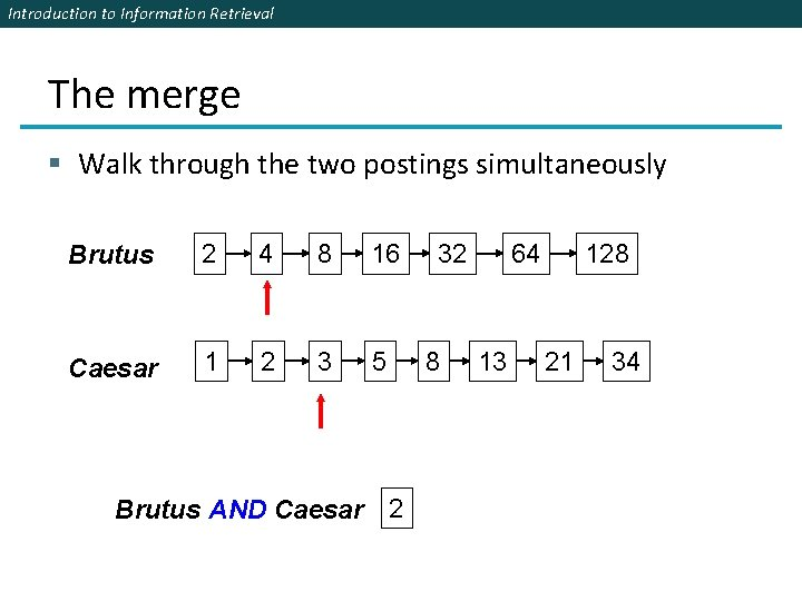 Introduction to Information Retrieval The merge § Walk through the two postings simultaneously Brutus