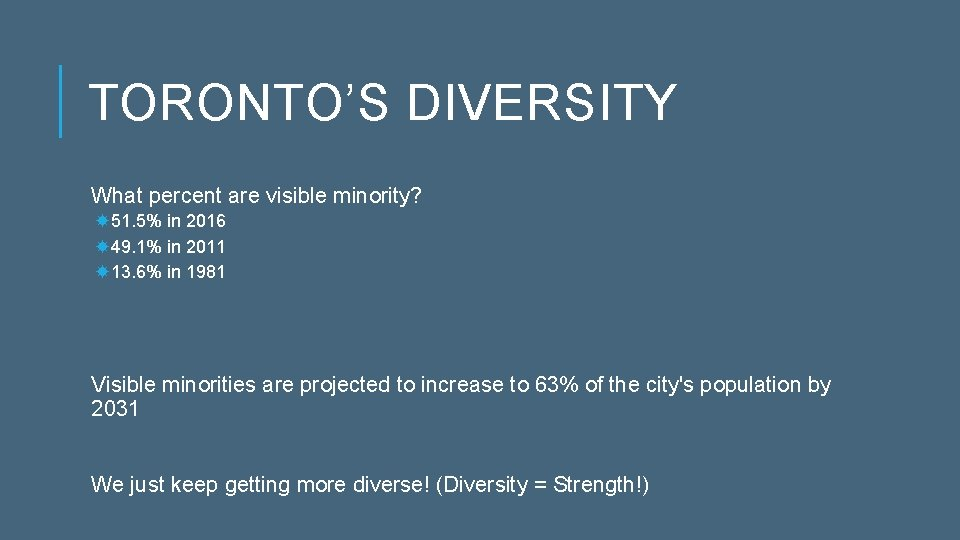 TORONTO'S DIVERSITY What percent are visible minority? 51. 5% in 2016 49. 1% in