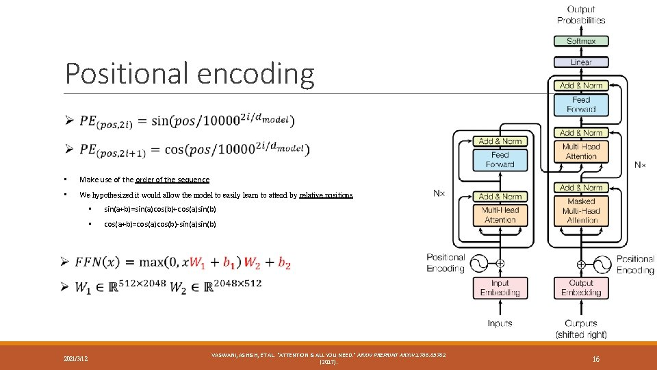 Positional encoding • Make use of the order of the sequence • We hypothesized