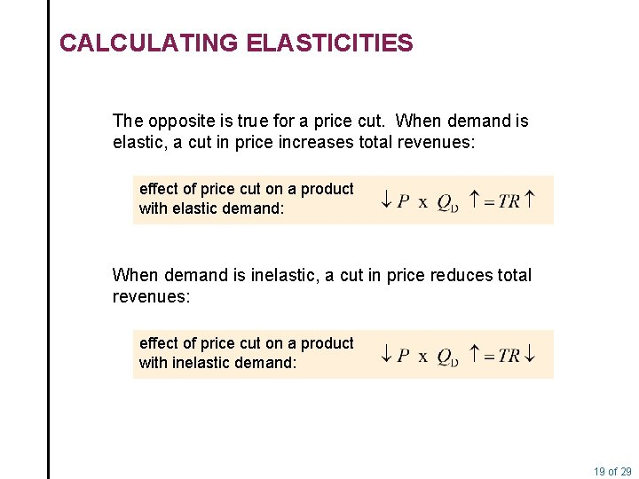 CALCULATING ELASTICITIES The opposite is true for a price cut. When demand is elastic,