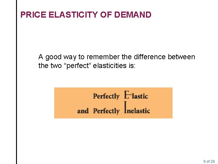 PRICE ELASTICITY OF DEMAND A good way to remember the difference between the two
