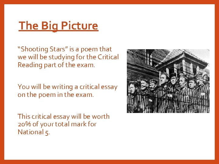 """The Big Picture """"Shooting Stars"""" is a poem that we will be studying for"""