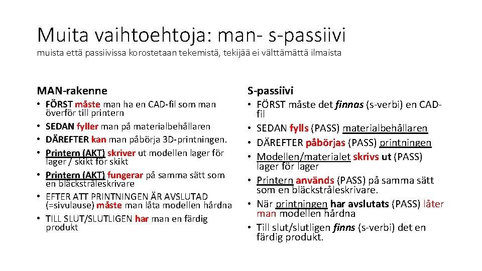 Muita vaihtoehtoja: man- s-passiivi muista että passiivissa korostetaan tekemistä, tekijää ei välttämättä ilmaista MAN-rakenne