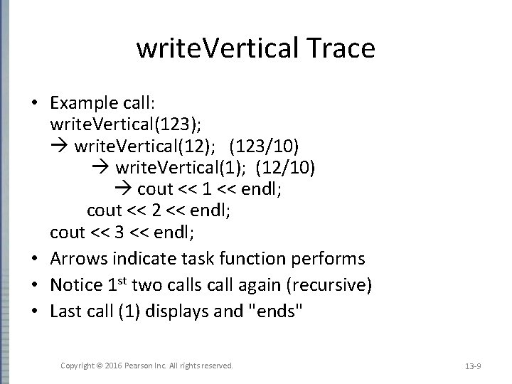 write. Vertical Trace • Example call: write. Vertical(123); write. Vertical(12); (123/10) write. Vertical(1); (12/10)
