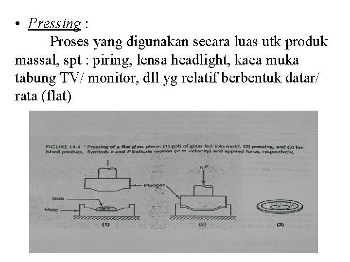 • Pressing : Proses yang digunakan secara luas utk produk massal, spt :