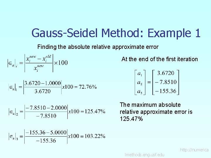 Gauss-Seidel Method: Example 1 Finding the absolute relative approximate error At the end of