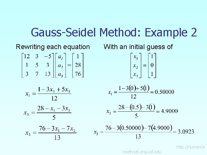 Gauss-Seidel Method: Example 2 Rewriting each equation With an initial guess of lmethods. eng.