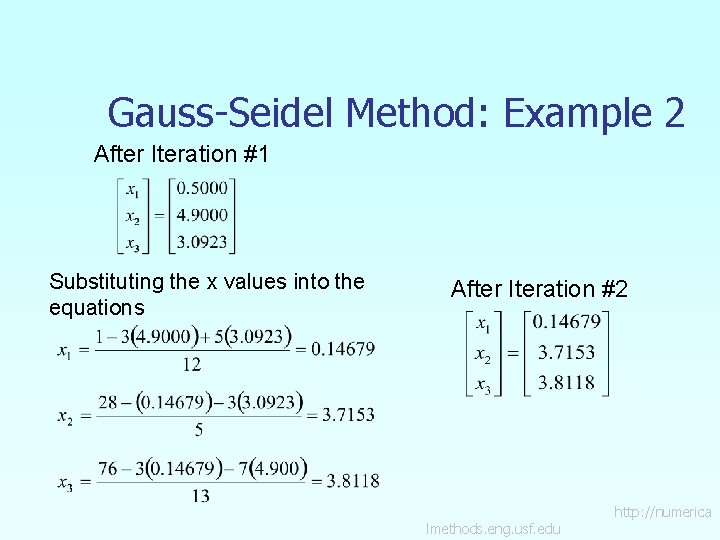 Gauss-Seidel Method: Example 2 After Iteration #1 Substituting the x values into the equations