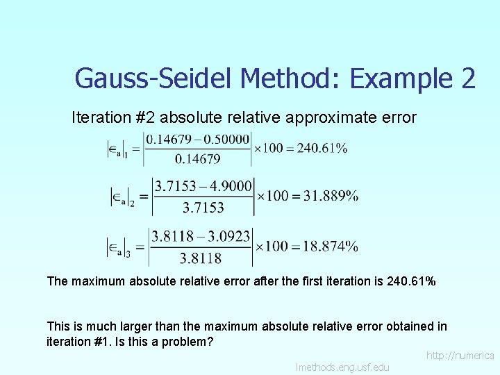 Gauss-Seidel Method: Example 2 Iteration #2 absolute relative approximate error The maximum absolute relative