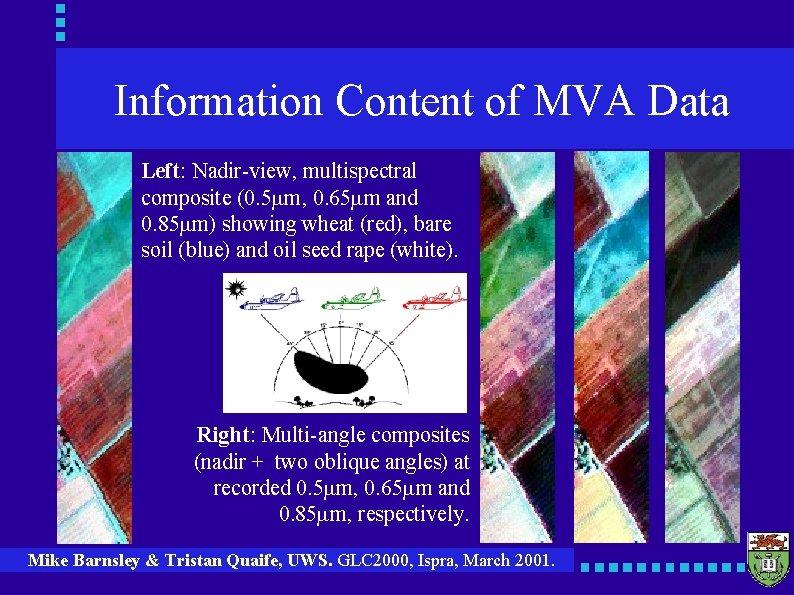 Information Content of MVA Data Left: Nadir-view, multispectral composite (0. 5 mm, 0. 65