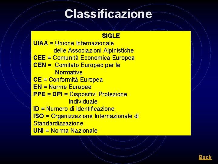 Classificazione SIGLE UIAA = Unione Internazionale delle Associazioni Alpinistiche CEE = Comunità Economica Europea
