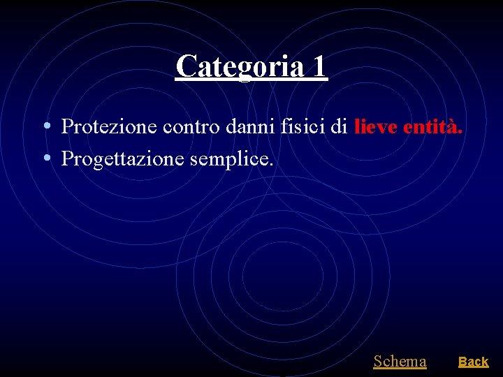 Categoria 1 • Protezione contro danni fisici di lieve entità. • Progettazione semplice. Schema